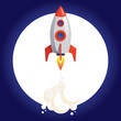 Shuttle to the moon. A spaceship rocket flying in the sky with the silhouette of the moon at the background. Vector illustration.