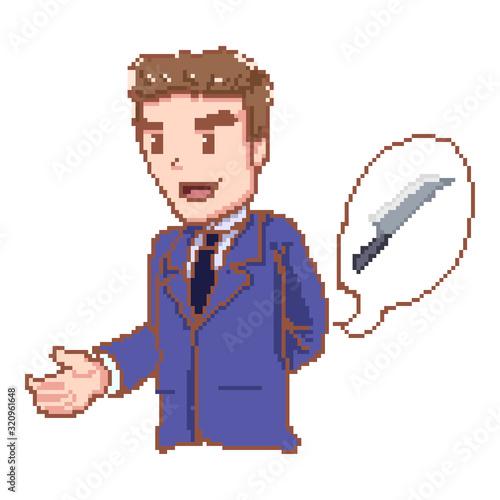 Businessman giving dishonest handshake holding kinfe and hiding in the back Wallpaper Mural