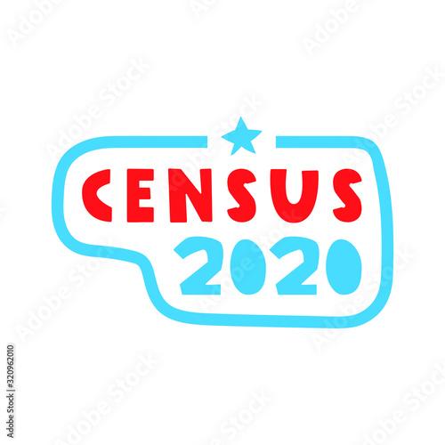Valokuva Badge - Census 2020. Vector illustration on white background.