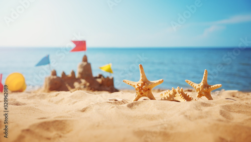 Sandcastle on the beach at sea in summertime Canvas Print