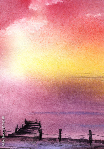 Obraz Calm Abstract watercolor landscape with no skyline. The sky merges with the sea. Pink mist over the water. Wooden walkway into the water. Romantic idyllic sunset or sunrise. Hand drawn illustration - fototapety do salonu