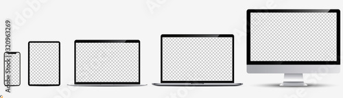 Obraz Screen mockup. Smartphone, tablet, laptop and monoblock monitor, with blank screen for you design. Vector illustration Ai 10 - fototapety do salonu