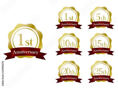 Anniversary Emblem リボン 金色 Canvas Print