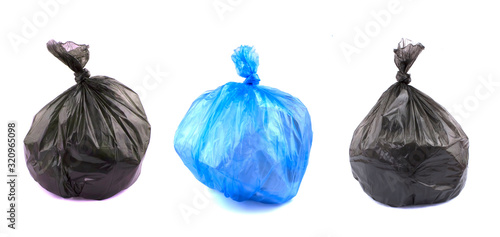 Fototapety, obrazy: A set of garbage bags isolated on white background.