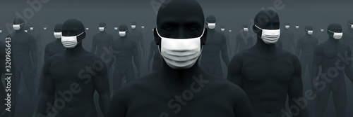 Fotomural マスクが欠かせない人々 1