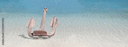 Anchor cast in shallow sea. Canvas Print