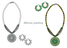 Handmade Jewelry In Ethnic Style: A Necklace With A Round Pendant And Earrings. Vector