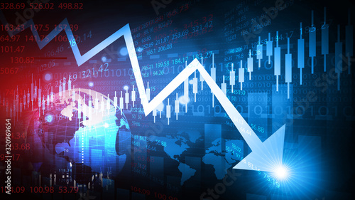 Obraz Decreasing arrow shows stock market crash. 3d illustration. - fototapety do salonu