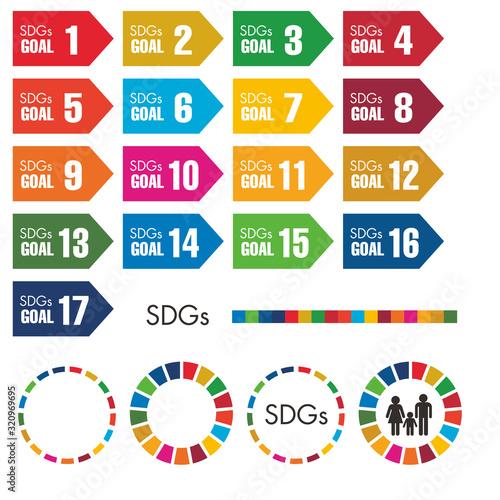 Obraz na plátně SDGs(Sustainable Development Goals/持続可能な開発目標)の目標17項目それぞれのカラーを使ったゴールに向かう活動イメージアイコ