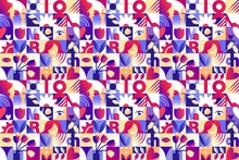 Seamless Purple Pattern For 8 March Women`s Day Celebration With Holiday Symbols In Geometric Style. Vector Illustration