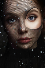 Beautiful Woman In Net On Her ...