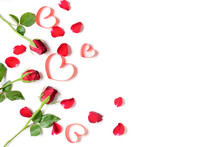 Red Roses With Heart Red Ribbo...