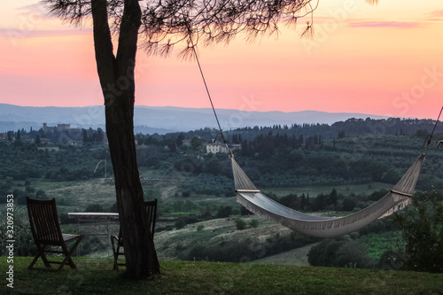 This photo was taken in Toscana, near the town of Poggibonsi, in the courtyard of a very cozy and welcoming hotel Canvas Print