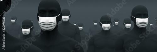 Leinwand Poster マスクが欠かせない人々 2