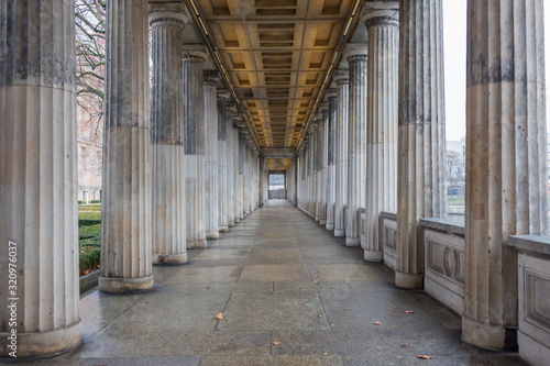 Canvas BERLIN, GERMANY - Jan 9, 2020: View into the so-called Säulengang: a passage with colonnades on the left and right