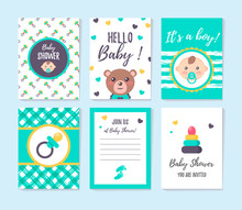 Set Of Vertical Greeting Cards And Invitation For Boy Baby Shower. It's A Boy. Place For Text