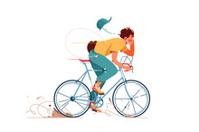 Young Man Rides Sport Bicycle ...