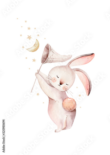 Stampa su Tela Cute baby rabbit animal dream illustration comet with gold stars in night sky, forest bunny illustration for children clothing