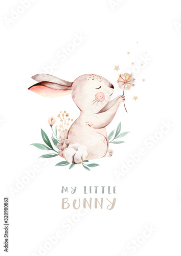 Fotografija Watercolor Happy Easter baby bunnies design with spring blossom flower