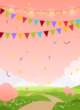 Spring Holiday Card Background With Copy Space. Fairytale Country With Pink Sky, Trees And Flags. Blank For Birthday, Invitation, Children's Party. Flat Cartoon Vector Illustration.