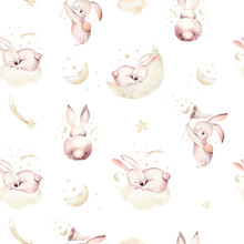 Cute Baby Rabbit Animal Seamless Easter Pattern Pussy-willow, Forest Bunny Illustration For Children Clothing. Nursery Wallpaper Background Woodland Watercolor Hand Drawn Poster