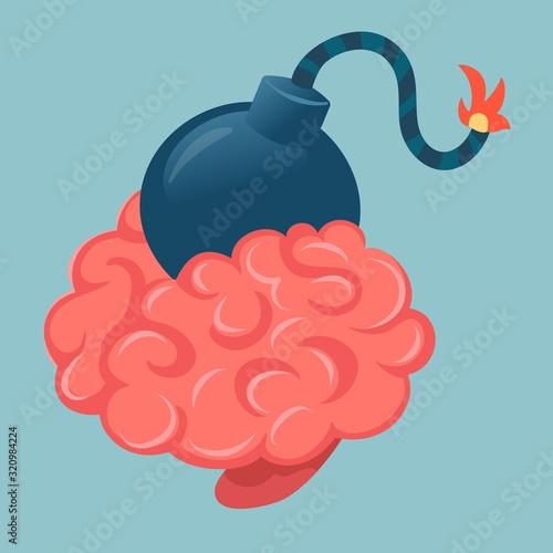 Vector creative illustration of pink human brain with big bomb w Fototapet