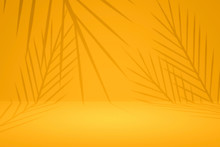 Abstract Yellow Background With Summer Palm Pattern On Empty Studio Backdrops. Tropical Style For Showing Product. 3D Rendering.