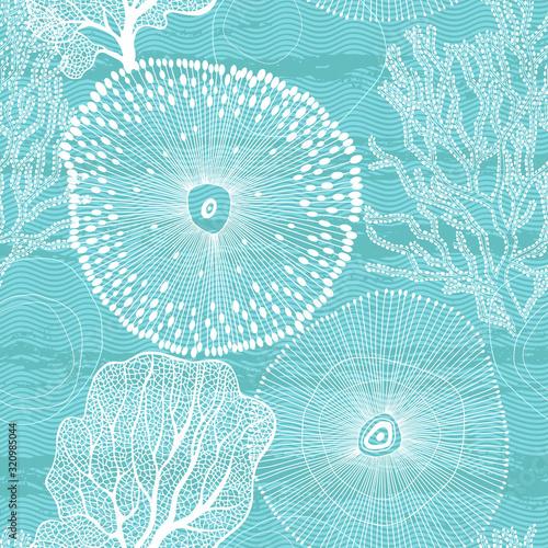 Fotografia Sea. Abstract seamless pattern on the marine theme. Vector.