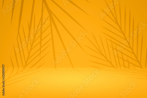 Fototapeta Abstract yellow background with summer palm pattern on empty studio backdrops. Tropical style for showing product. 3D rendering. obraz
