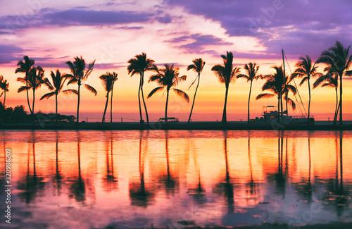 Hawaii beach sunset scenic panoramic banner background for summer vacation, romantic honeymoon travel destinations Fototapeta