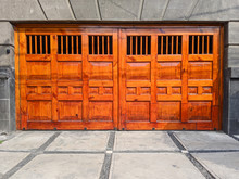 Heavy Wooden Gate In Mexico City