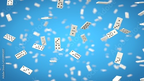 Obraz domino chips on blue background. 3d illustration - fototapety do salonu