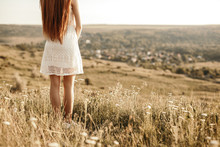 Lonely Teen Girl Standing In F...