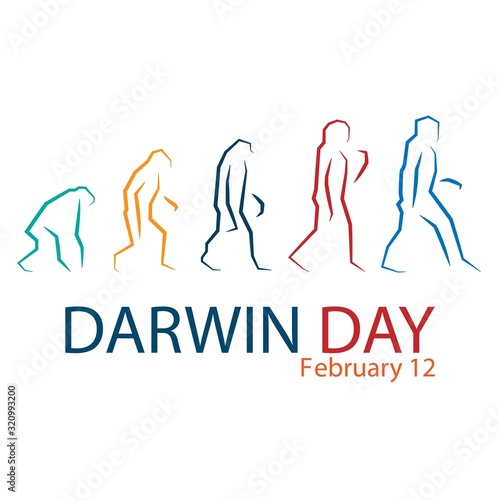 Photo International Darwin Day February 12 design vector illustration.