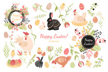 Set Of Cute Hens, Rabbits, Chickens And Plant Elements For The Design Of Cards And Banners For Easter
