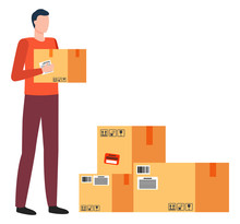 Person Work As Courier At Post Office Or Warehouse. Man Carry Carton Box In Hands. Cardboard Packages For Shipment To Recipient Location. Transportation And Delivering Parcels, Vector Illustration
