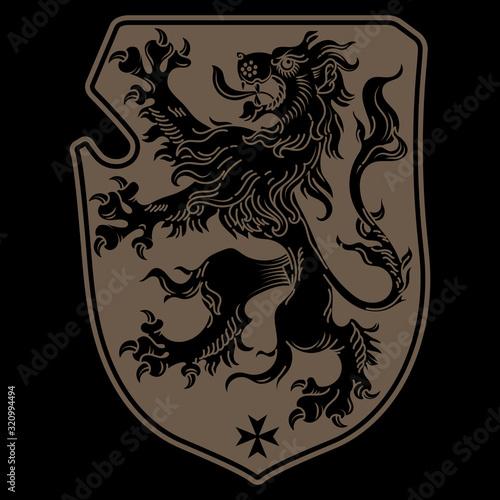 A medieval heraldic coat of arms, heraldic lion, heraldic lion silhouette Canvas Print