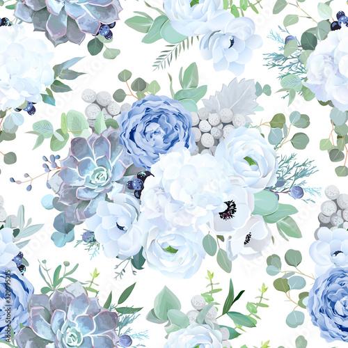 Tapeta niebieska  seamless-vector-design-pattern-from-dusty-blue-garden-rose-white-flowers
