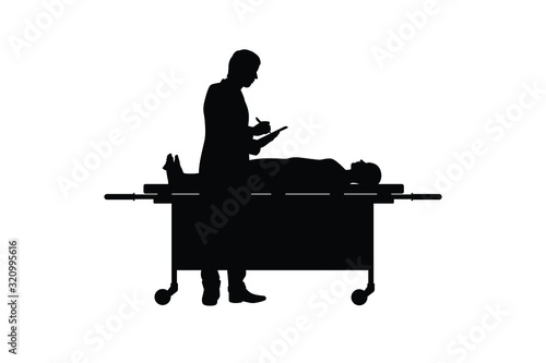 The man works in morgue silhouette vector Canvas Print