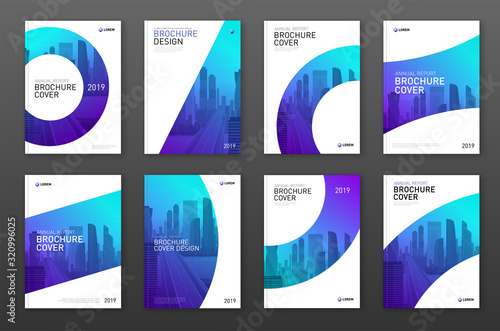 Fototapeta Brochure cover design layout set for business and construction