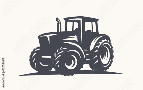 Modern tractor illustration on white background.