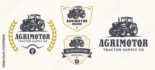Set of farm logo, emblems, and badges Canvas Print