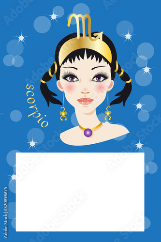 Illustration with zodiac sign and white space to write a text Wallpaper Mural