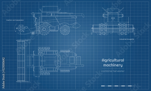 Fototapeta Outline blueprint of combine harvester. Side, front and top view of agriculture machinery. Farming vehicle. Industrial drawing. Indurtry document obraz
