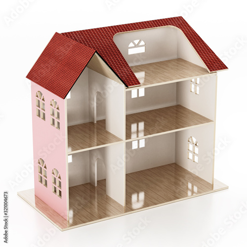 Classic wooden dollhouse isolated on white background Canvas Print