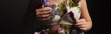 Cropped View Of Girl In Bra With Violet And Purple Flowers On Body Isolated On Black, Panoramic Shot