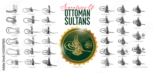 Leinwand Poster Signatures of Ottoman sultans