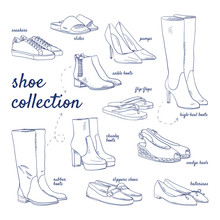 Doodle Set Of Shoe Collection ...