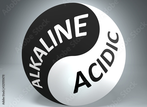 Photo Alkaline and acidic in balance - pictured as words Alkaline, acidic and yin yang