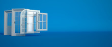 Door And Windows Selection On Blue
